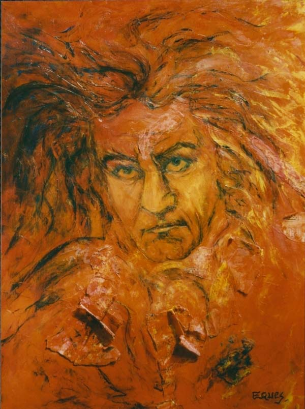 Eques Artiste peintre, Beethoven Symphonie N�5 Fond rouge 50F